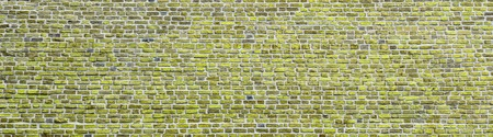 Brick wall, wide panorama of light green masonry. Wall with small Bricks. Modern wallpaper design for web or graphic art projects. Abstract template or mock up. Фото со стока