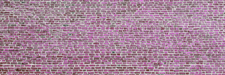 Brick wall, wide panorama of violet masonry. Wall with small Bricks. Modern wallpaper design for web or graphic art projects. Abstract template or mock up. Фото со стока