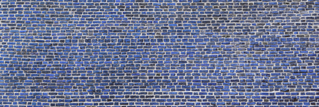 Brick wall, wide panorama of navy blue masonry. Wall with small Bricks. Modern wallpaper design for web or graphic art projects. Abstract template or mock up.