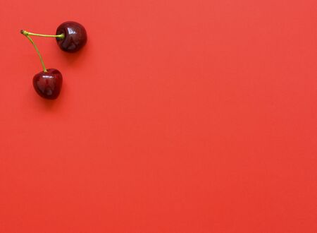 Big sweet cherry on a bright coral background. Sweet cherries close up. Summer flat lay berry background. Top view. Imagens