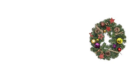 Christmas wreath isolated on white background. Handmade Christmas wreath decorations. Copy space