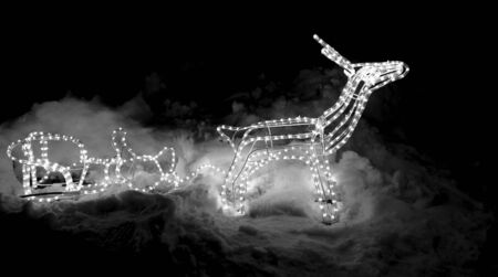 Christmas decoration isolated on black background. Deer and sleigh made of glowing garland. New year illumination