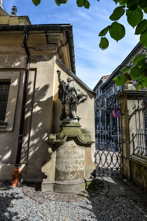 Krakow, Poland - May 21, 2019: Monument near Annunciation of the Blessed Virgin Mary Church on 11 Loretanska street, Krakow, Poland
