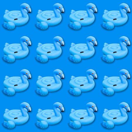 Blue flamingo monochrome background. Swimming pool toy in shape of blue flamingo seamless pattern. Flamingo inflatable cut out. Top view, flat lay.