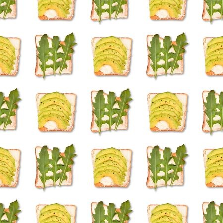 Sandwich or toast with toppings seamless pattern. Flat lay, top view. Pop art design, creative food concept. Imagens