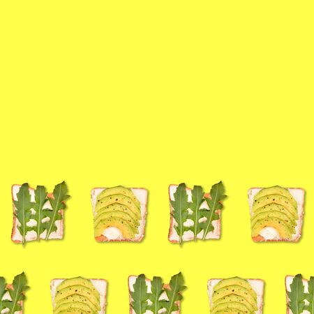 Sandwich or toast with toppings pattern. Flat lay, top view. Pop art design, creative food concept with copy space.
