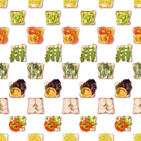 Sandwich or toast with toppings pattern isolated on white. Flat lay, top view. Pop art design, creative food concept.