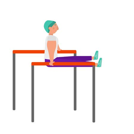 Bodyweight concept. Strong young fit man in modern sport outfit is doing bench dips and press on horizontal bar. Outdoor or gym sports concept. Ilustração