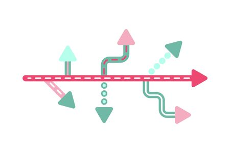 Direction concept. Abstract colorful arrows minimal flat design. Template or banner. Vector illustration isolated on white background.