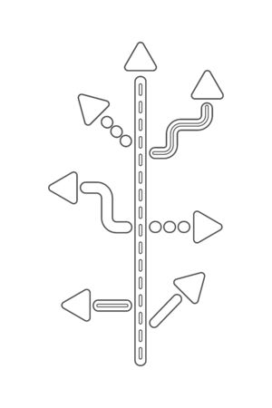 Direction concept. Abstract black and white outline arrows minimal flat design. Template or banner. Vector illustration isolated on white background.
