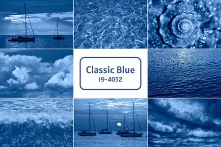Sea related collage with storm waves, shell and yachts. Trendy Banner toned with color of the year 2020 - classic blue