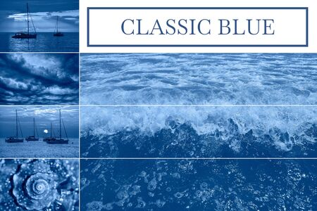 Sea related collage with storm waves, shell and yachts. Trendy Banner with square frame toned with color of the year 2020 - classic blue. Sea summer concept