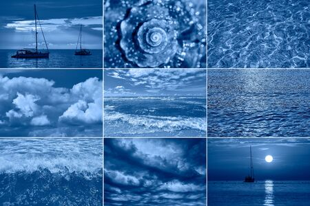 Sea related collage with storm waves, shell and yachts. Trendy Banner toned with color of the year 2020 - classic blue. Sea or ocean concept
