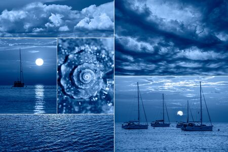Sea related collage with storm waves, shell and yachts. Trendy Banner toned with color of the year 2020 - classic blue. Sea vacation concept Standard-Bild