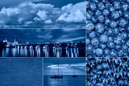 Trendiges Collage-Banner in klassischem Blau - Farbe des Jahres 2020. Moderne Collage mit Beeren, Blättern, Yacht, Meer und Himmel in Blau getönt Standard-Bild