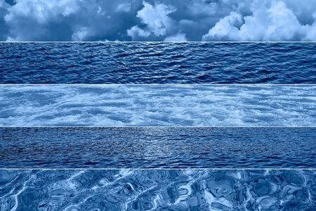 Sea with storm waves and dramatic sky. Trendy Banner toned with color of the year 2020 - classic blue. Sea or ocean concept