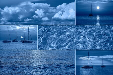 Sea related collage with storm waves, shell and yachts. Trendy Banner toned with color of the year 2020 - classic blue. Sea or ocean summer concept