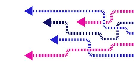 Direction concept with colorful arrows. Abstract arrows with rounded corners in minimal flat design. Template or long banner. Vector illustration isolated on white background.