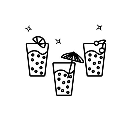 Simple outline vector icon of three lemonade glasses. Festive or party food and drink concept. Bubble drink