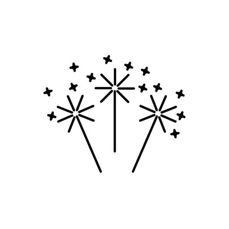 Simple outline vector icon of sparkler. Festive new year concept. Symbol for party celebration, birthday and holidays.