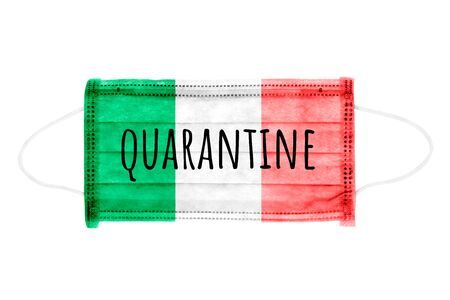 PP non-woven disposable medical face mask isolated on white background. Quarantine lettering on medical mask toned in italy flag colors