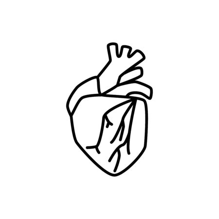 Human heart sign. Simple line vector icon. Internal human organ.