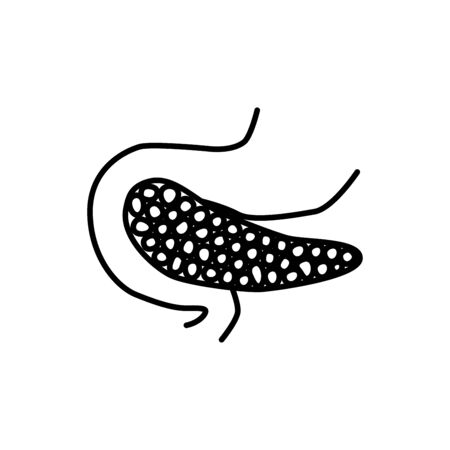 Human pancreas intestine sign. Simple line vector icon. Internal human organ. Illustration