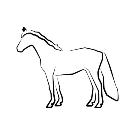 Horse icon. Outline vector illustration. Hand drawn style. Farm animals. Logo of Grazing horse full length.