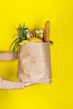 Food delivery or donation concept. Grocery store shoping. Girl or woman holds a paper bag filled with groceries such as fruits, vegetables, milk, yogurt, eggs isolated on yellow. 스톡 콘텐츠 - 149638973