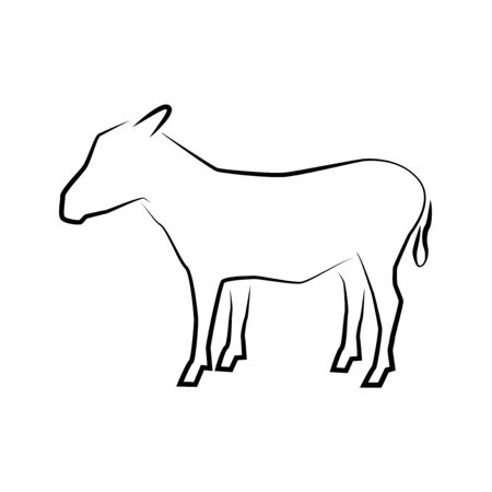 Donkey icon. Outline vector illustration. Hand drawn style. Farm animals. Logo of donkey full length isolated on white. 矢量图像