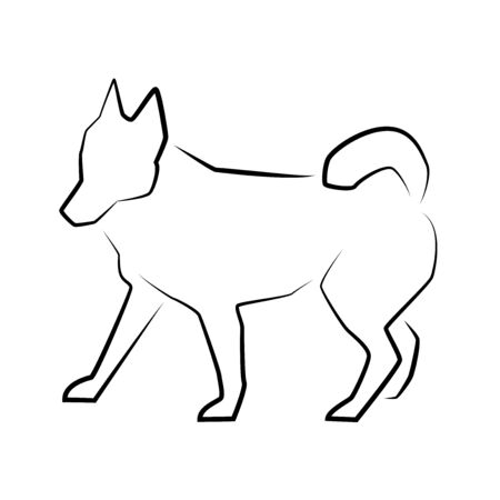 Dog icon. Outline vector illustration. Hand drawn style. Pets. Logo of dog full length isolated on white. 矢量图像