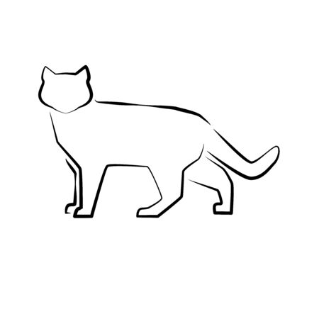 Cat icon. Outline vector illustration. Hand drawn style. Pets. Logo or icon of home cat standing full length isolated on white. 矢量图像
