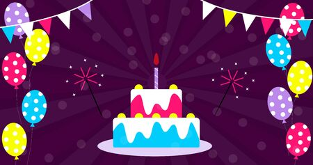 Bright Birthday party banner with garland with flags, cake and balloons Vettoriali