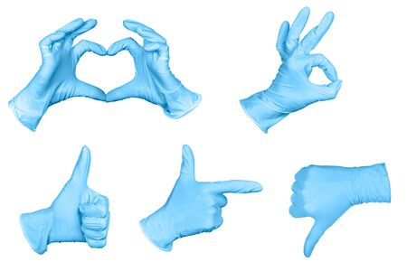 Set of hand or signs gestures in blue disposable latex surgical gloves isolated on white background. Hand sign set.