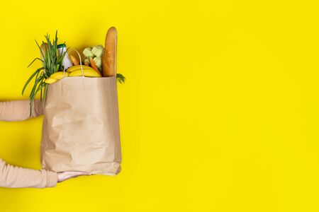 Food delivery or donation concept. Grocery store shoping. Girl or woman holds a paper bag filled with groceries such as fruits, vegetables, milk, yogurt, eggs isolated on yellow. Copy space 免版税图像