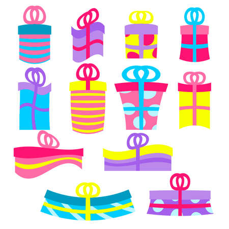Gift or presents boxes isolated on white. Colorful and wrapped gift box icons. Sale or shopping concept. Collection for Birthday, Christmas, New year 스톡 콘텐츠 - 150630945
