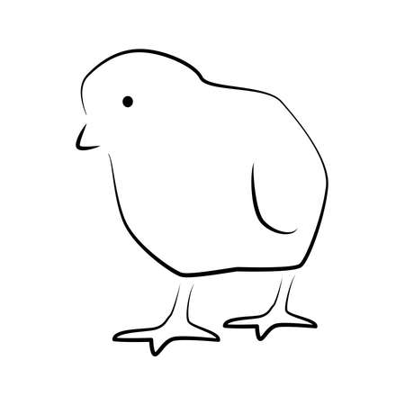 Little tiny chick or chicken outline simple icon. Farm birds icon.