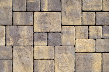Gray Texture of cement paving slabs or cobblestone for banner. Mock up or template for modern design.