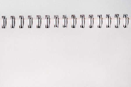 Schoo or office open notebook close up. Mock up of spiral notepad top view. Standard-Bild