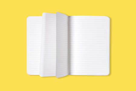 Blank open office Notepad or notebook with flipping pages isolated on yellow background. Mock up. Top view Standard-Bild