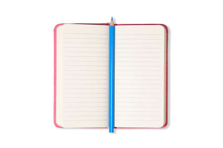 Pink Blank open office Notepad or notebook isolated on white background and blue pencil. Mock up. Top view