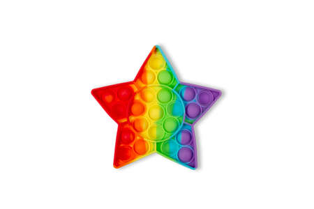 Pop It Antistress game fidget. Pop Fidget Sensory Toy for Autism Special Needs Stress Relief. Silicone Pressure Relieving Toy in form of star for Kids, Children, Adults.