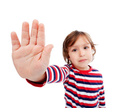 woeful: Woeful little boy protest against something Stock Photo