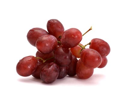 wet bunch of red grapes