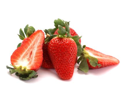 bunch of the fresh red juicy strawberries