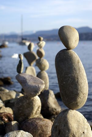 constructions from the stones on the lakeside         Banque d'images