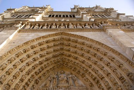 Front side of the main cathedral of France - Notre Dame de Paris