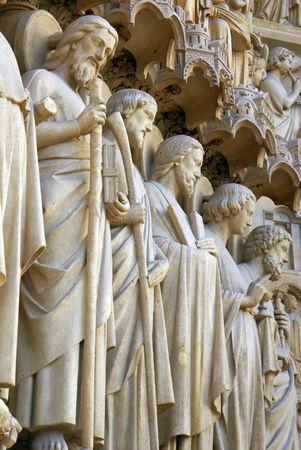 Line of sculptures on the main facade of Notre Dame de Paris