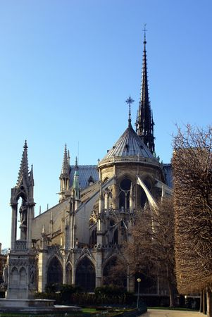 back facade of Notre Dame de Paris - main cathedral of France