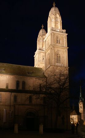 Grossmuenster is the famous mediaeval cathedral in the center of city - simbol of Zurich